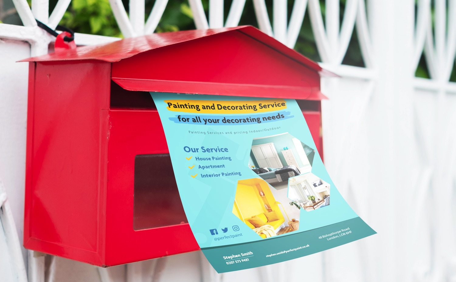 a flyer in a post box